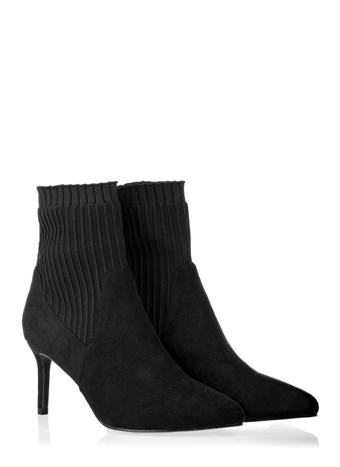 Twist Çorap Form İnce Topuklu Bot Siyah